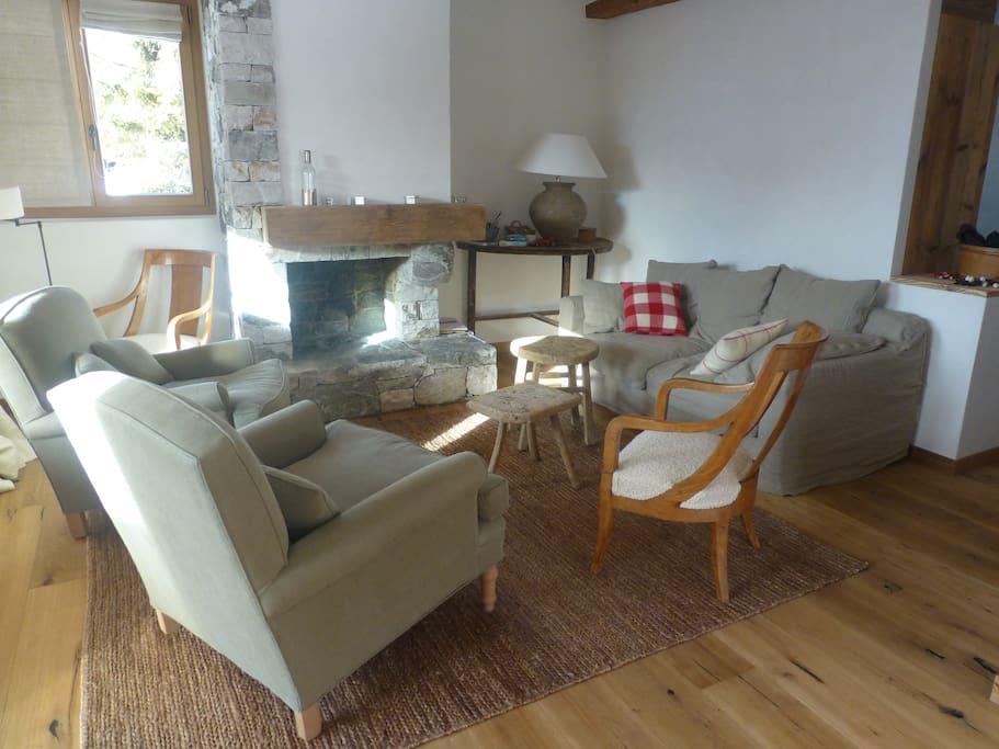 Salon confortable avec belle cheminée