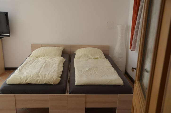 Wohn- Schlafraum mit Doppel, ww. Einzelbetten