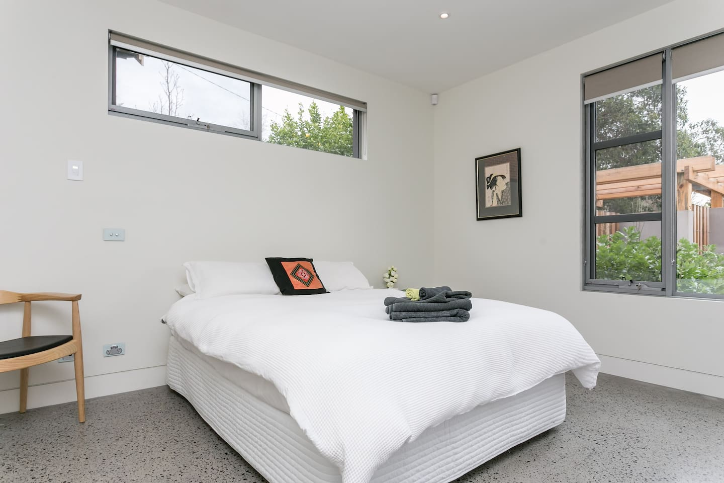 Your private bedroom, a  comfortable queen bed