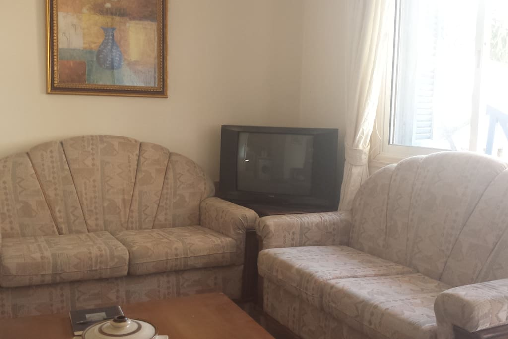 Separate sitting area is divided from the bedroom for full privacy. Television moved to opposite wall.