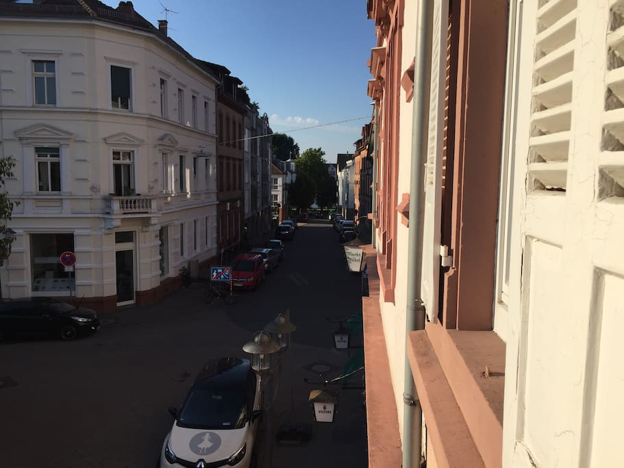 View into the street to the right from the apartment
