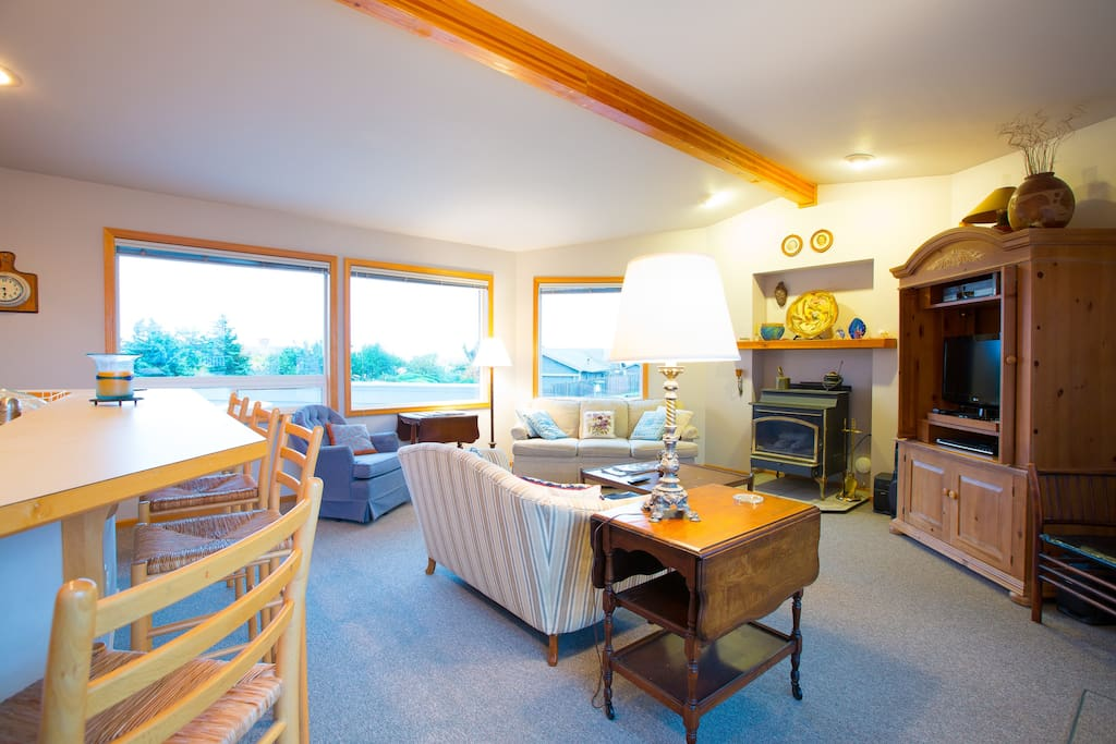 Great room facing Puget Sound and Olympic Peninsula