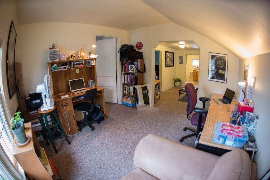Two computer desks.
