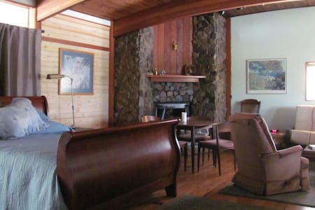 "Our home is a unique ranch style with laminated, curved, open beam ceilings & hardwood floors.  The Master Suite features;  a small kitchenette, a modest but full bathroom, and a spacious ""L"" shaped master suite .  A corner rock fireplace and table area separate a super comfortable sleigh bed, and a over thick foam foldout futon.  There is also a roll away bed, and a child sized bed in the nook ""kid"" area. Have fun bird watching from the deck by the Koi pond/waterfall.  Wheelchair entry ramp ."