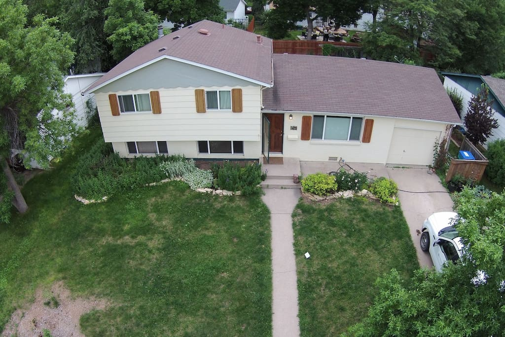 Aerial drone shot of house