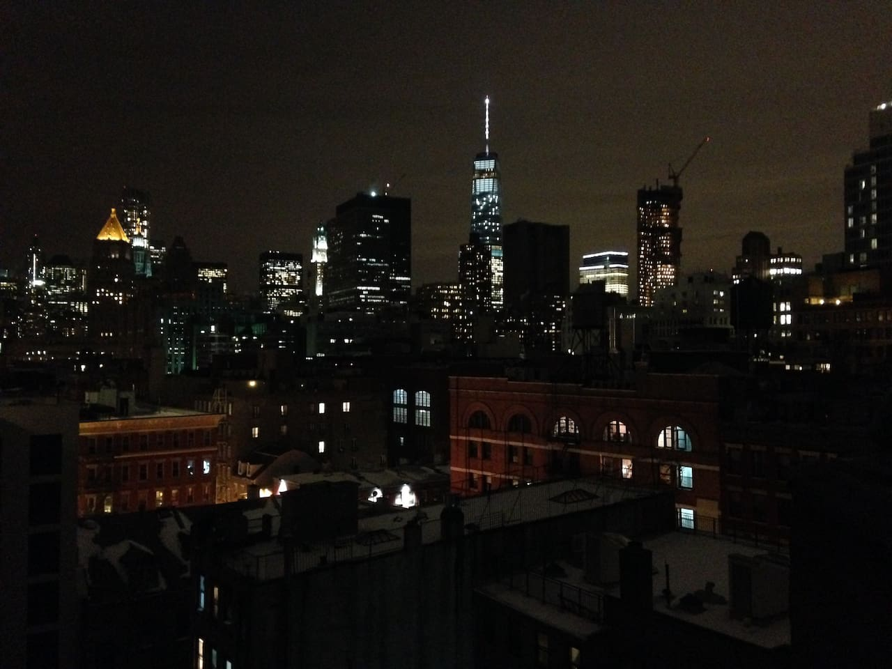 Rooftop view at night.