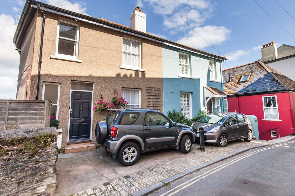 Front of Dartmouth Townhouse with private parking space for modest car