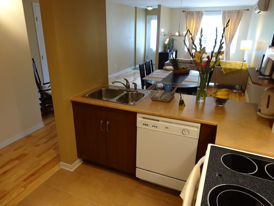 1 cuisine ouverte sur le salon - salle à manger