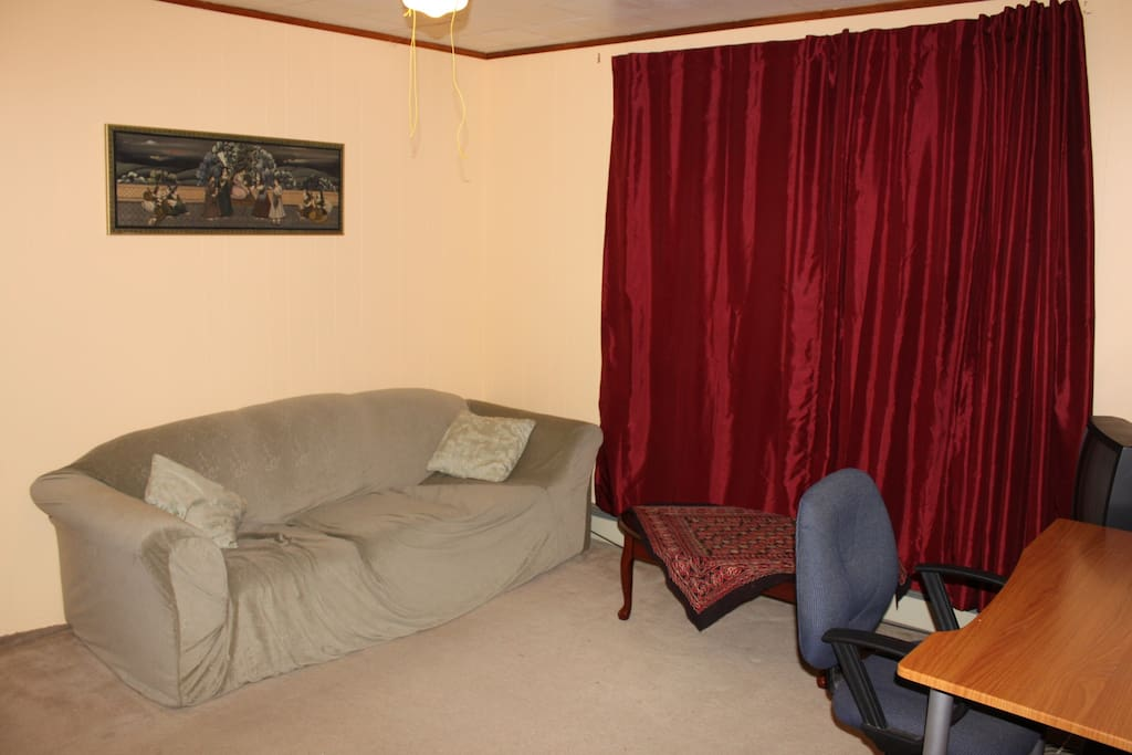 Upstairs living room, couch is a sofabed that can sleep 2 people