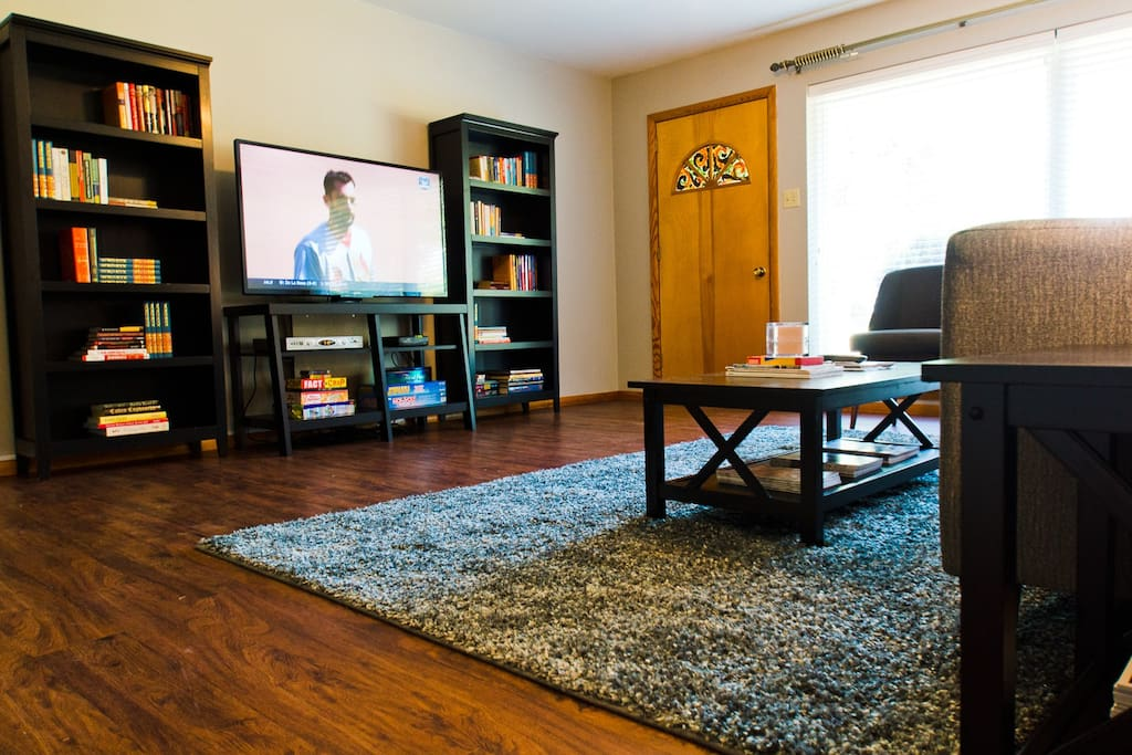 """Living area features 55"""" HDTV"""