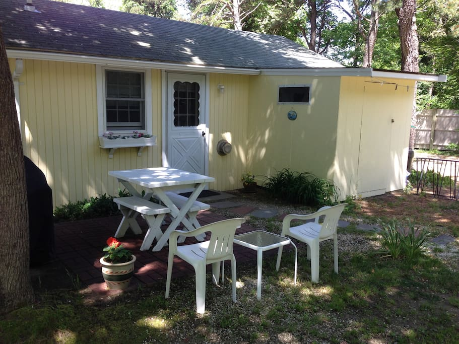 Patio with picnic area and gas grill