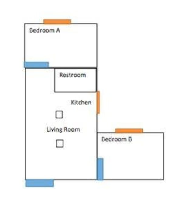 Floor plan - your room is Bedroom B. You have access to the full house except Bed A.
