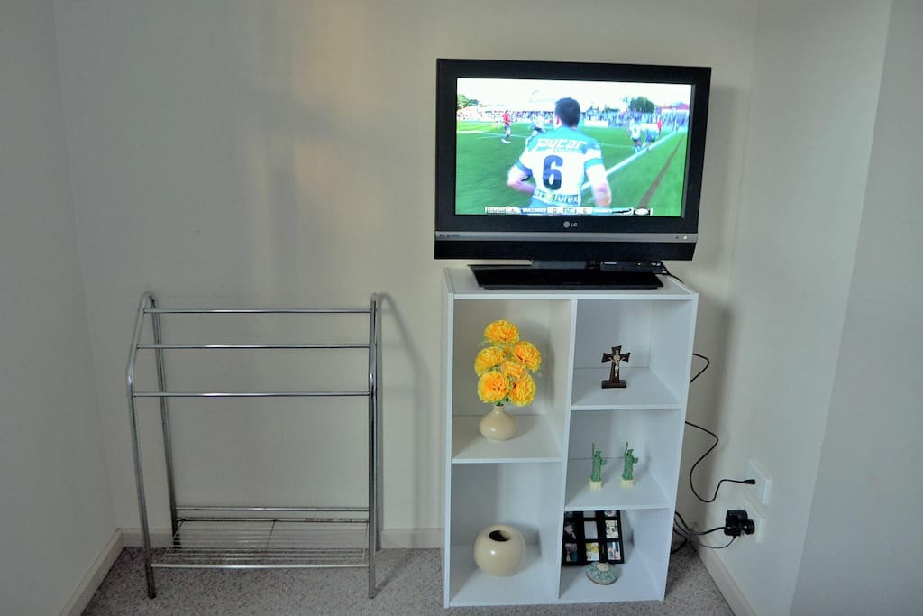 TV and towel rack