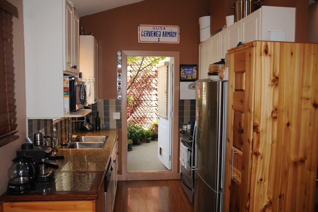 Kitchen area leading onto patio