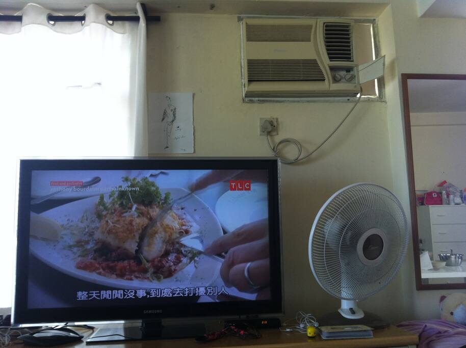 "42"" Samsung LED TV, Aircon, Fan"