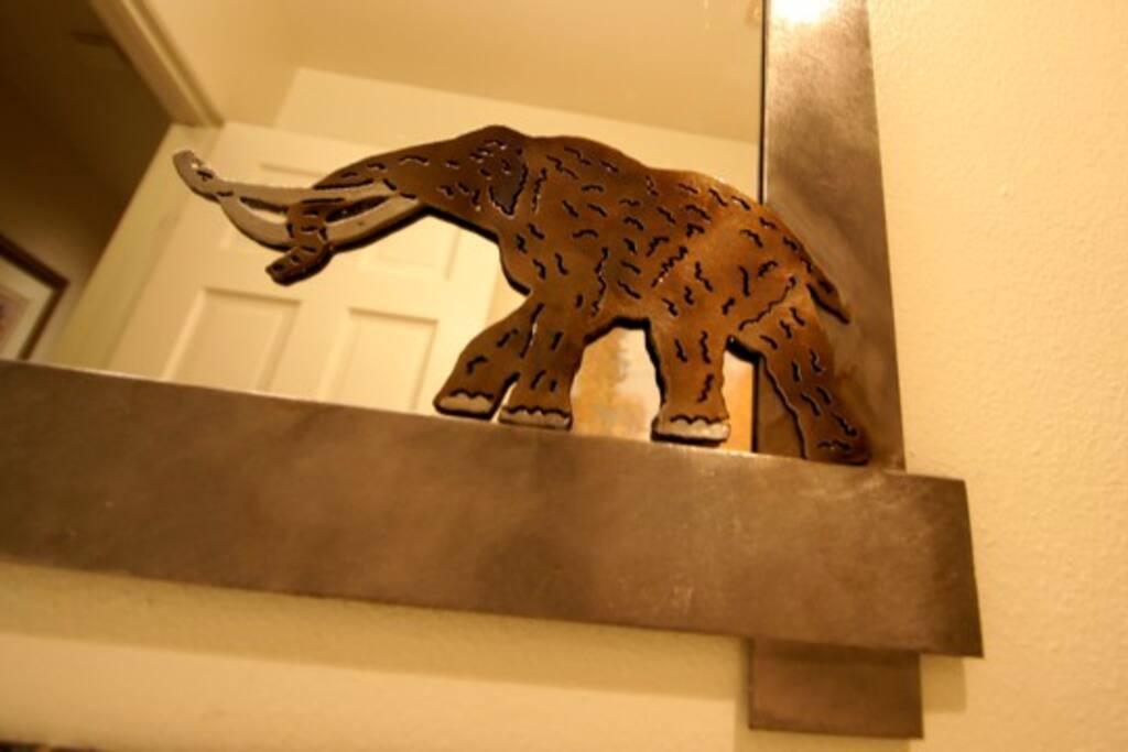 Luxurious Modern Mountain Style Throughout.  Woolly mammoth mirror detail.