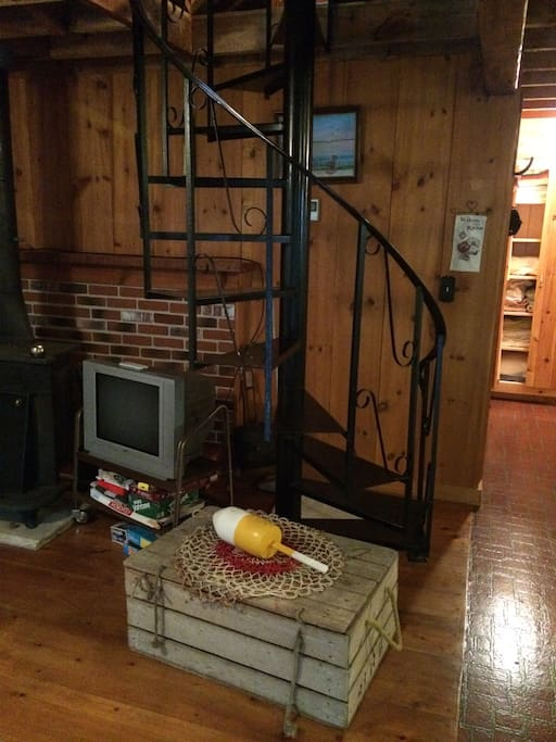 Spiral staircase to the upstairs loft