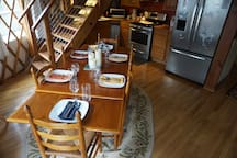 The dining table easily accommodates six people.