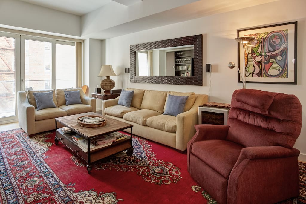 ample living room seating