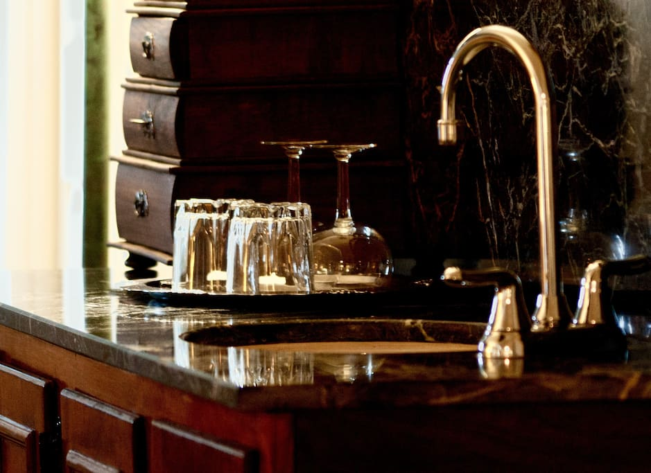 The marble wet bar in our Napoleon room
