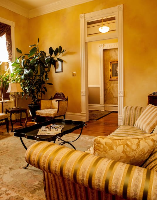 Our parlor is appointed with antiques