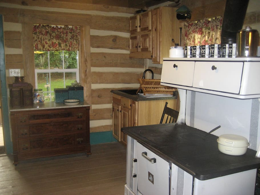 Modern kitchen with original cookstove