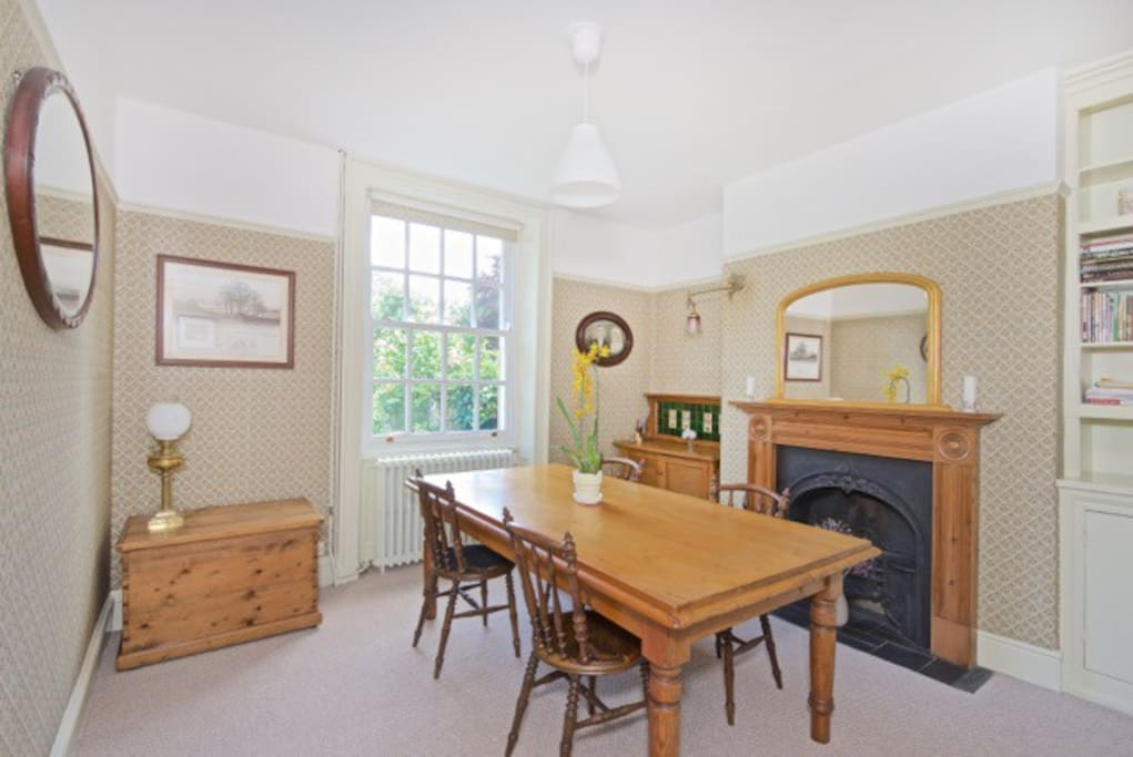 Dining-room with antique working fireplace