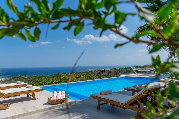 1 km to the Sea, with Panoramic Aegean Ocean Views - Atsipopoulo - 別荘