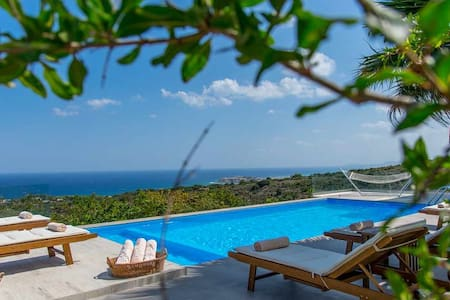 1 km to the Sea, with Panoramic Aegean Ocean Views - Atsipopoulo - Villa