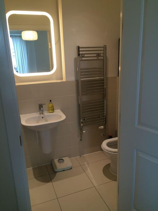 En Suite Bathroom with shower, loo, sink, heated towel rail and lit vanity mirror.