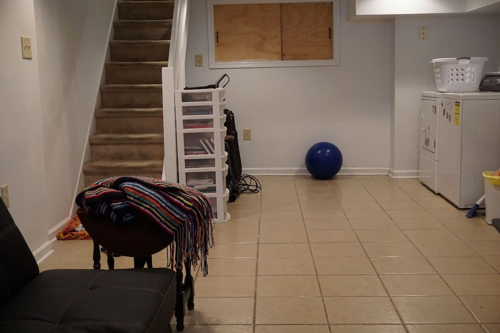 You can use our washer and dryer and if you prefer you can stay in our finished basement