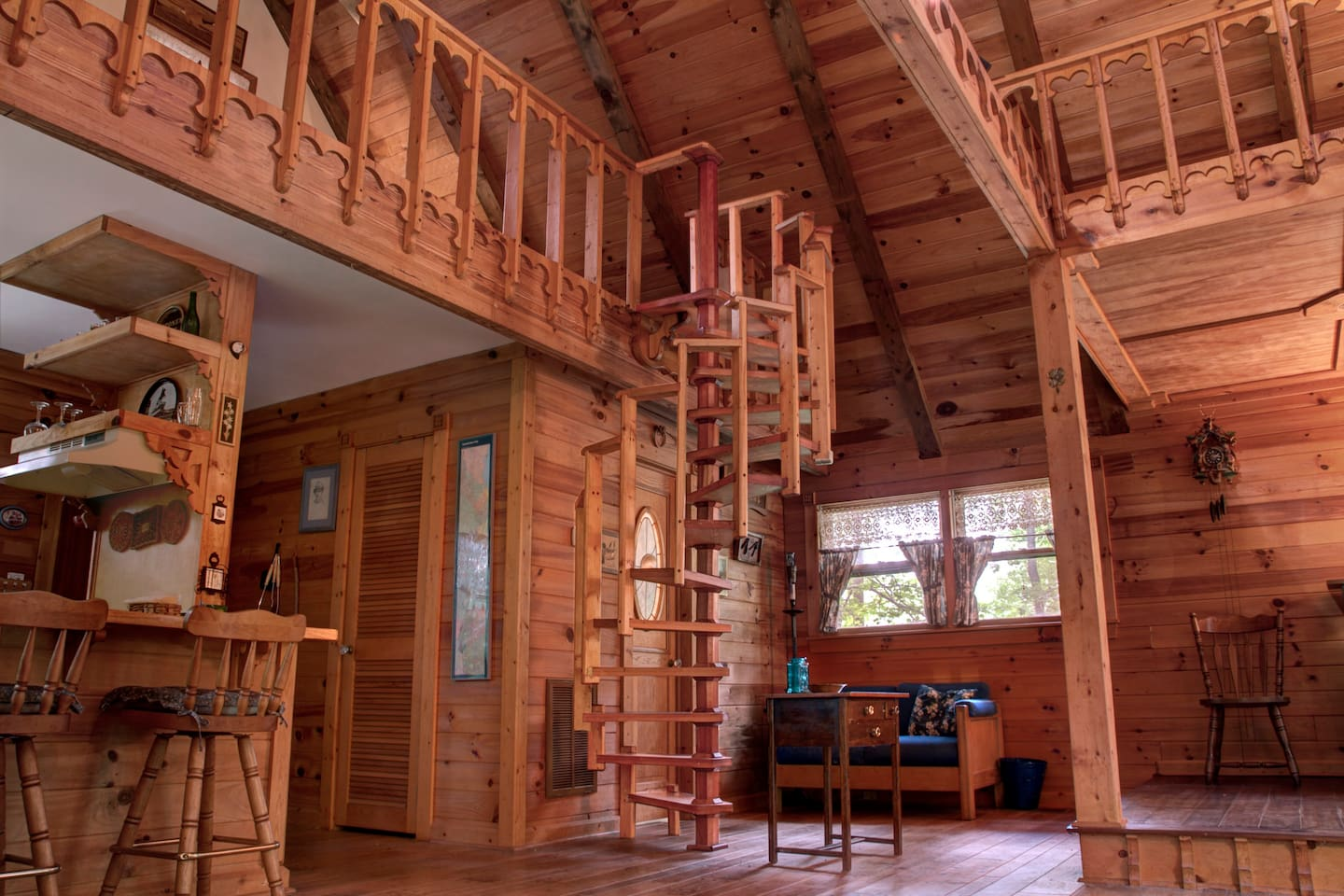 Beautiful details abound, such as the custom designed and handcrafted spiral staircase.