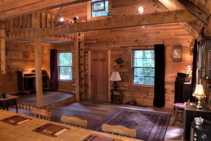 This cabin is a work of art! You won't believe the stunning, handcrafted wood interior.