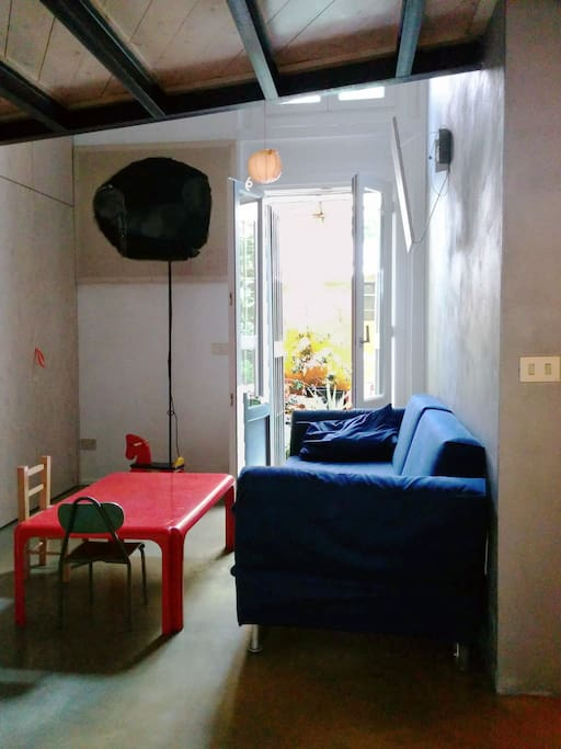 the studio overlooking the little garden that hosts a single bed