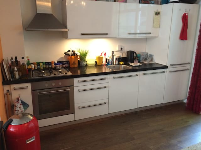 kitchen, with oven, dish washer and micro wave