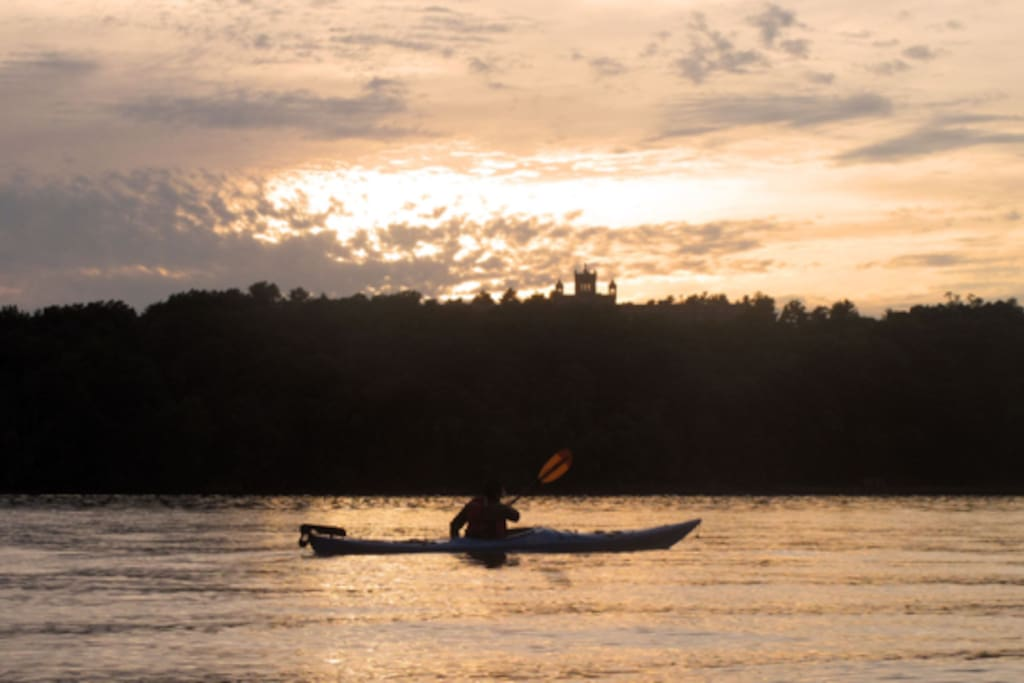 Go on a sunset tour along the Hudson River:) Raw boat on the Hudson 10 minutes from the house