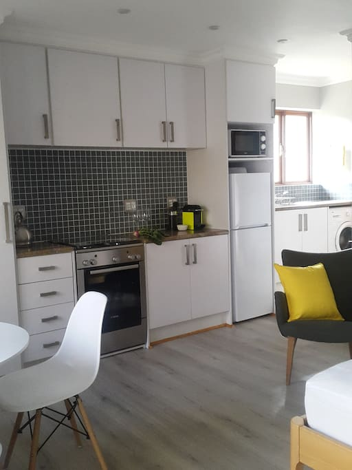 Fully equipped galley type kitchenette with gas stove and oven and Nespresso coffee machine