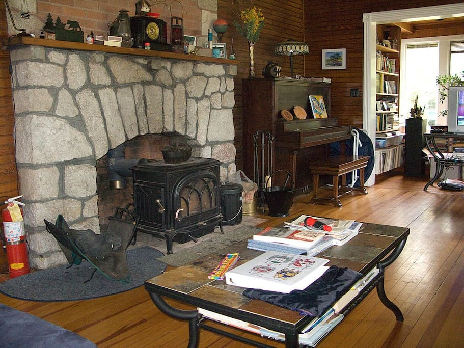 Enjoy a glass of wine by the fire.