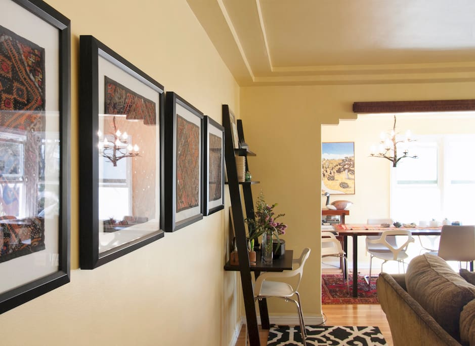 View from living room to dining area