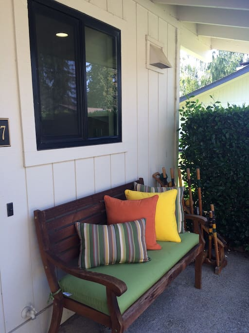 Entry patio with bench and croquet set for your use