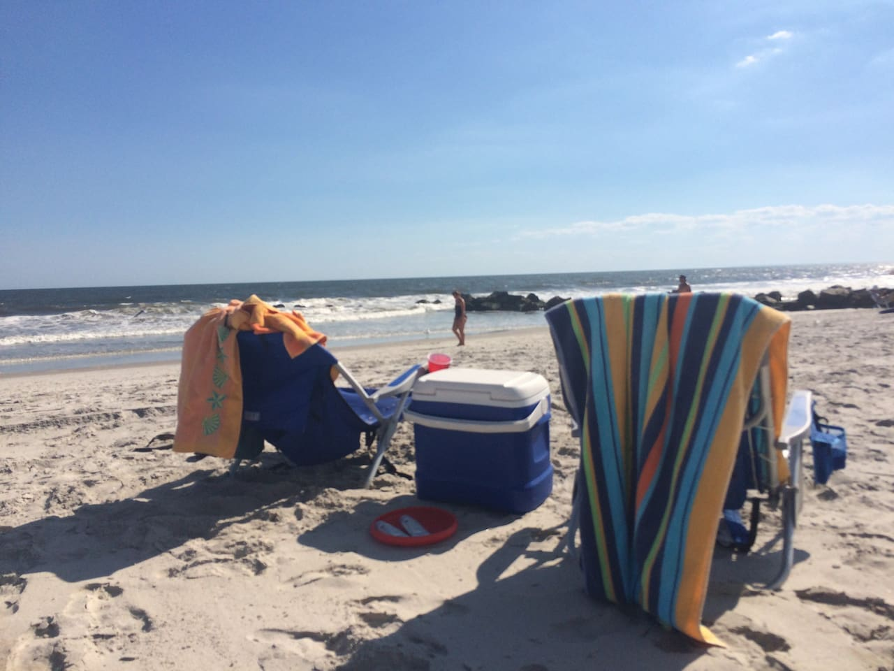 2 beach chairs and a cooler included with your stay.