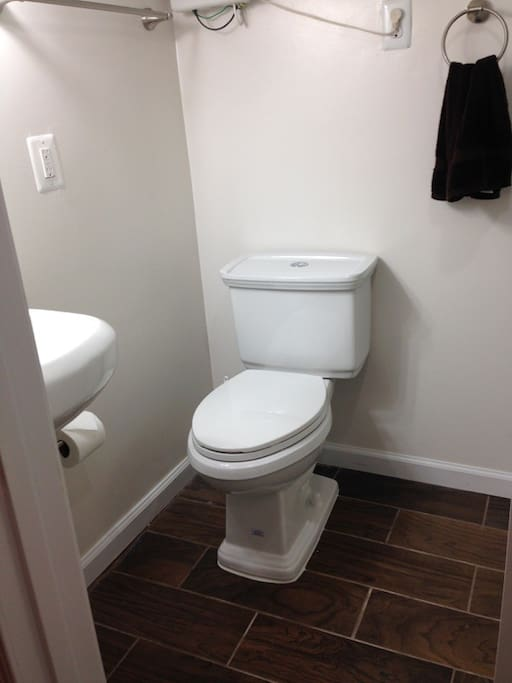 Brand new bathroom, with dual flush toilet