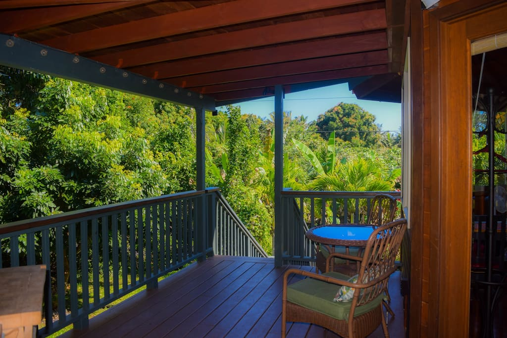 The large shady lanai provides a great place to take in the natural beauty that surrounds the home.