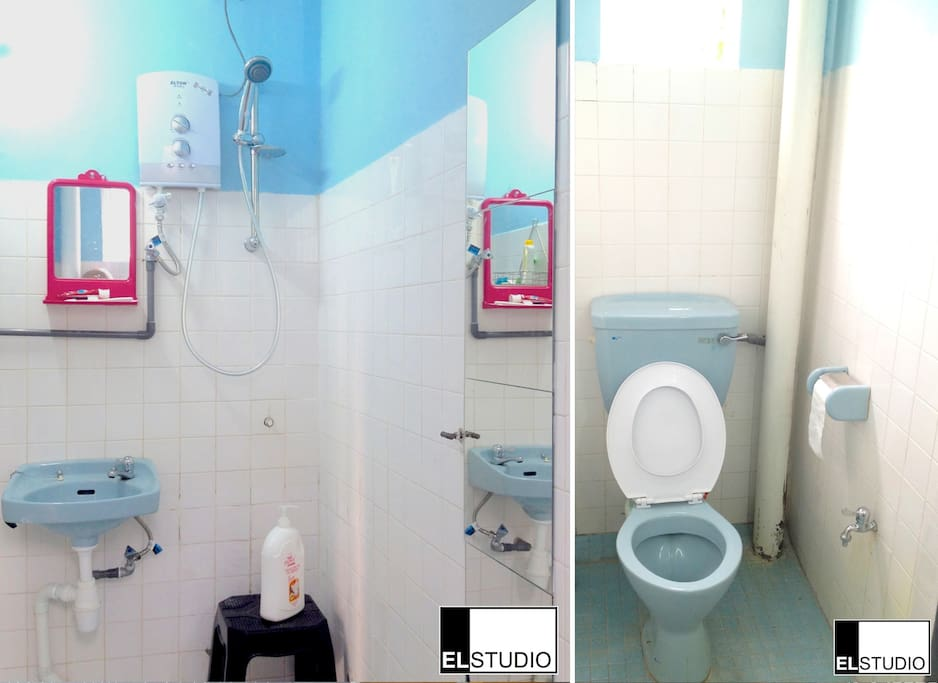 Common washroom & shower with water heater