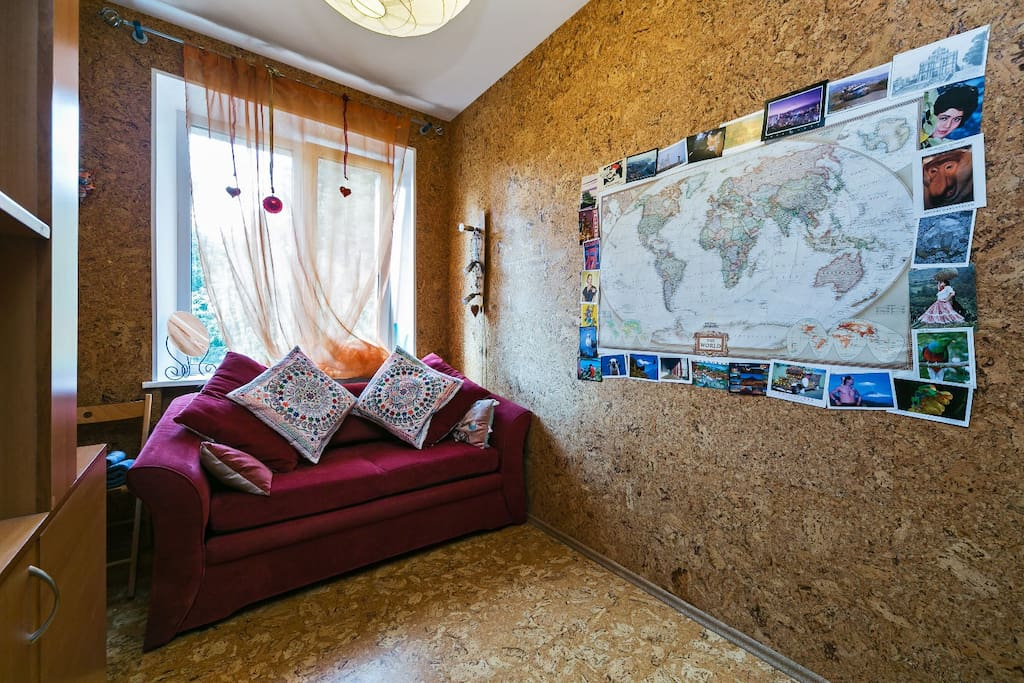 Renat: Guest room is a very comfortable place to have a rest: it's quite, clean and cosy. You can also find there a big map of the world, and it's an exciting process to find and point your own country/city on it.