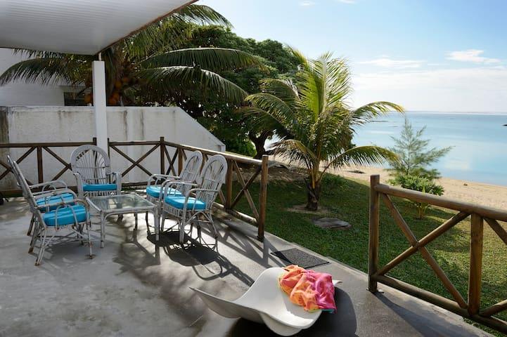 Pleasant view from the beach front veranda of villa creole