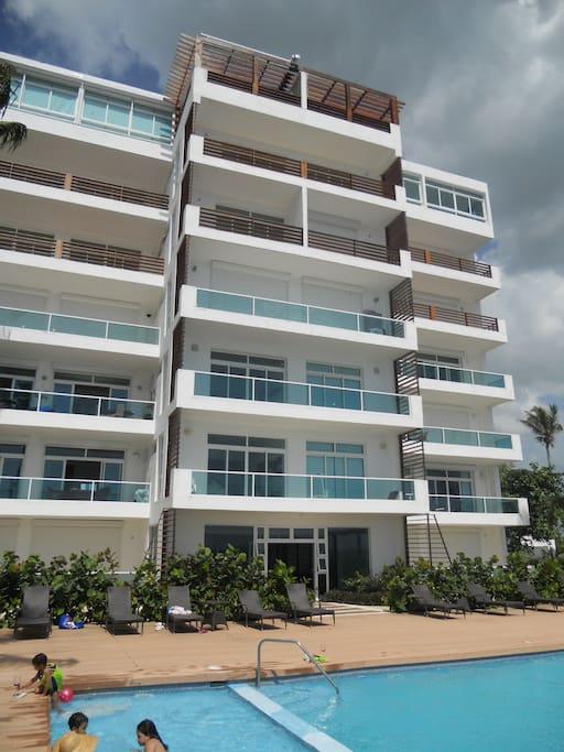 The Costa Atabey I building facing the Caribbean Sea.