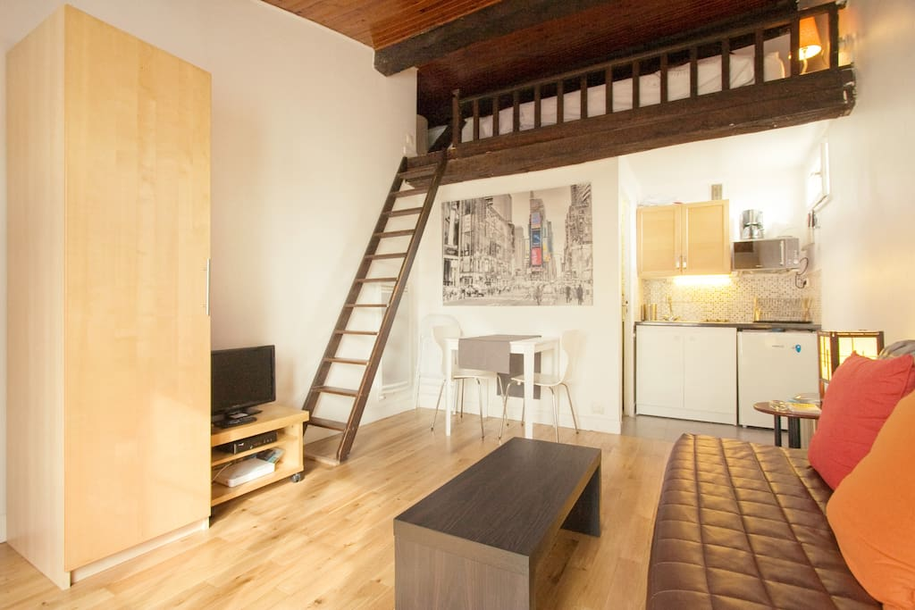 lovely studio in paris 39 heart apartments for rent in paris le de france france. Black Bedroom Furniture Sets. Home Design Ideas