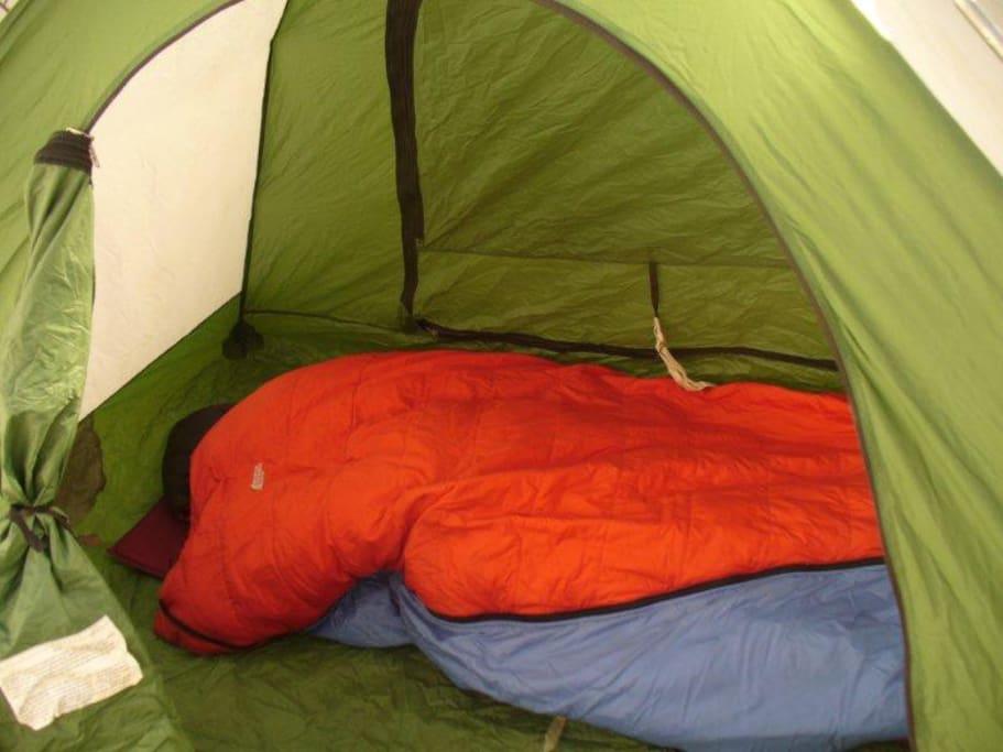 Super air-matress and sleeping bags