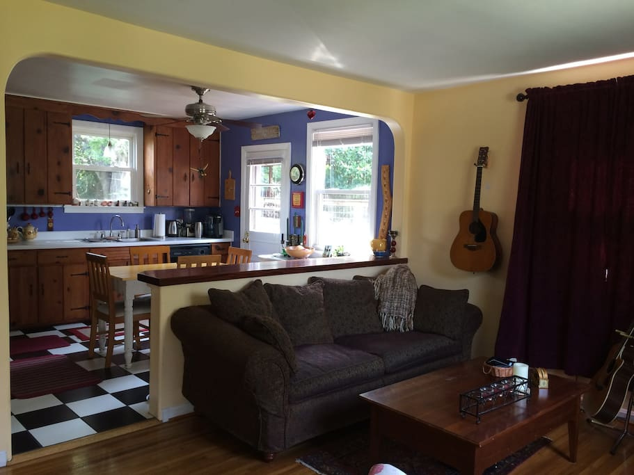 This is a shot of the living room and kitchen!